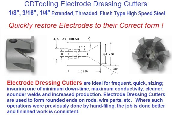 Electrode Dressing Cutter, Threaded, Extended, Flush Types, 30 Degree, Radius, Pointed EDE-