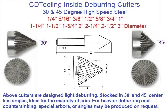Inside Deburring Cutters HSS 1/4 to 3 inch Diameter 30, 45 Degree Centerline 60, 90 Degree Inc ID 1989