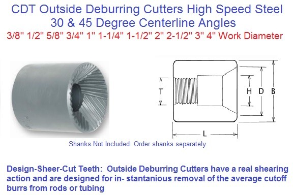 Outside Deburring Cutters HSS 30 and 45 Degree C/L 60 and 90 Degree Included Angle 3/8 to 4 inch work Diameter  ID 1991-