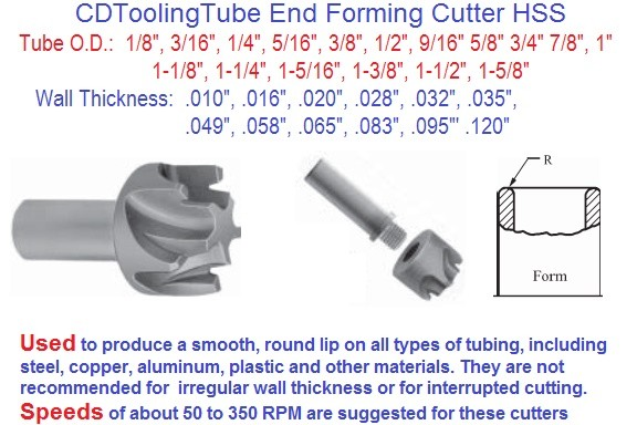 Tube End Forming Cutter HSS 1/8 to 1-5/8 Diameter .010 to .120 Wall Thickness TEFC- ID 1997-