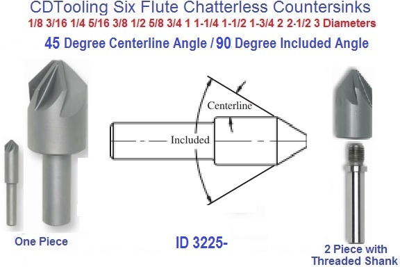 "1-3//4/"" 90degree 6 FLUTE HSS CHATTERLESS COUNTERSINK"
