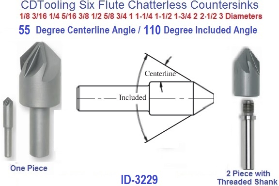 """1-1//4 to 2-1//2/"""" Cut Dia. 82° Included Angle HSS Countersink /& Deburring Tool"""