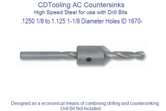 .125 to 1.125 Inch Countersink Aircraft Countersink Drill Sleeves AC 41, 45 Centerline, 82, 90 Included Angle ID 1670-