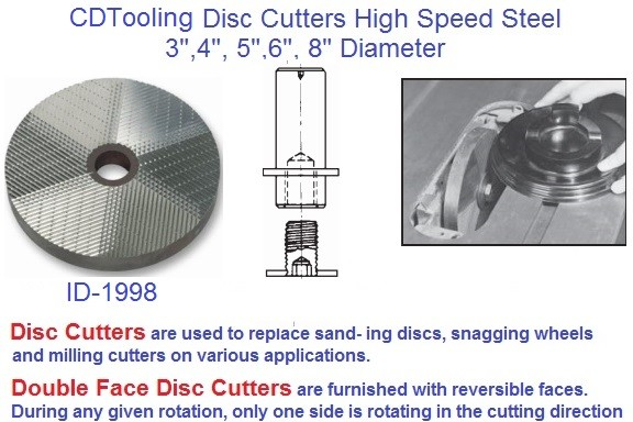 Disc Cutter High Speed Steel 3, 4, 5, 6, 8 Inch Diameter, Single, Double Face DISC- ID 1998-