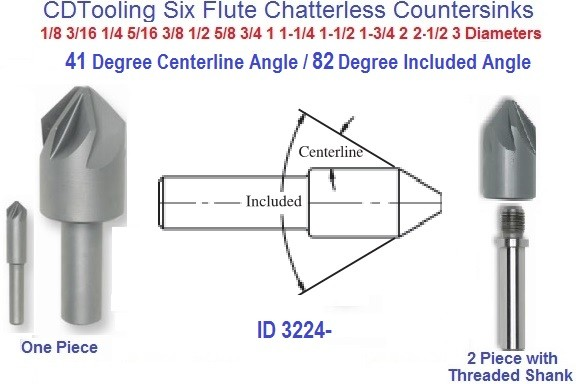 1//2 120 Degree 3//8 SHNK 6FL HIGH Speed Steel CHATTERLESS Countersink