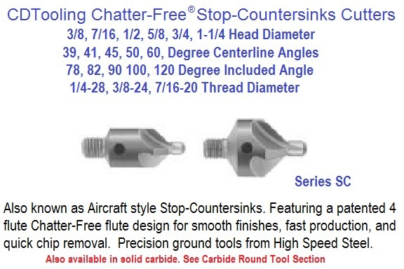 Stop Countersink Cutters HSS 3/8 7/16 1/2 5/8 3/4 1-1/4 x 1/4-28, 3/8-24, 7/16-20 39, 41 45 50 60 Degree Centerline Angle