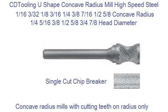 Concave Radius Radius Mill 1/16 1/8 3/32 1/16 1/8 3/16 1/4 3/8 7/16 3/8 1/2 5/8 Sizes ID 2389-