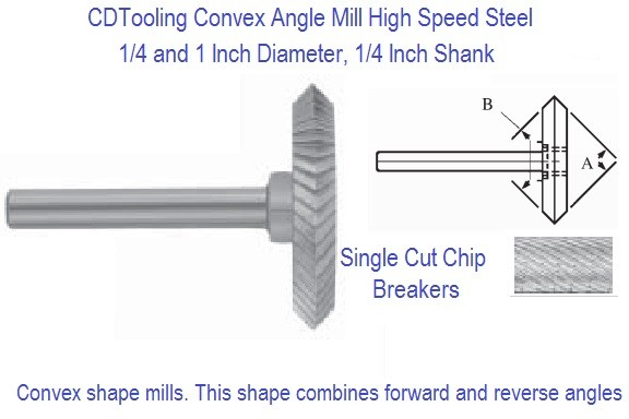 Convex Angle Cutting Mill 1/4 Shank High Speed Steel 20 and 90 Degree Center line Angle ID 2391-