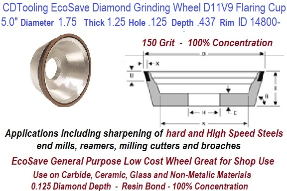 "SHARS 5 x 1-3//4/"" D11V9 CBN FLARING CUP WHEEL 150 GRIT DIAMOND 1//8 NEW"