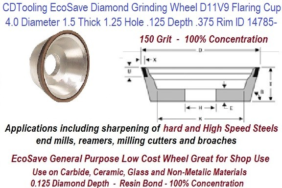D11V9 4 Inch Diameter 1.50 Thick 1-1/4 Arbor Hole .125 Depth .375 Rim 150 Grit 100 Con EcoSave Diamond Flaring Cup Wheel ID 14785-