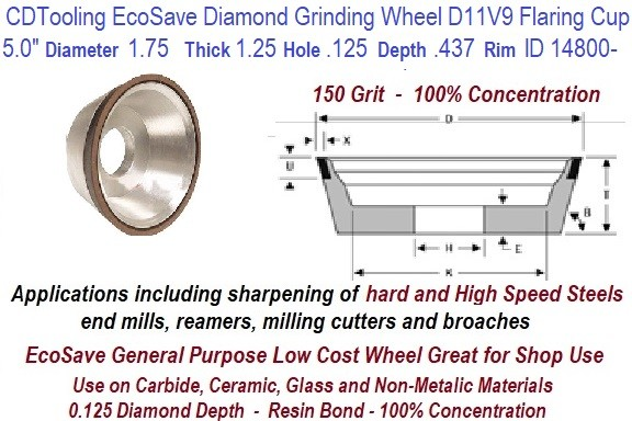 D11V9 5 Inch Diameter 1.75 Thick 1.25 Arbor Hole .125 Depth .437 Rim 150 Grit 100 Con EcoSave Diamond Flaring Cup Wheel ID 14800-