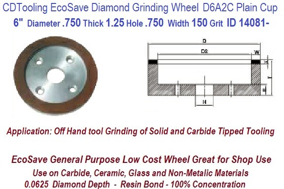 D6A2C 6 Inch Diameter 0.75 Thick 1.25 Arbor Hole .062 Depth .750 Width 150 Grit 75 Con EcoSave Diamond Flaring Cup Wheel ID 14802-