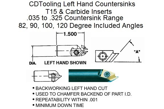 Countersink Left Hand With Carbide or T15 Inserts 82, 90, 100,120 Degree DAV-CSK