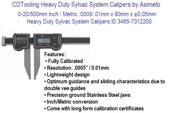 0-20/500mm Inch / Metric .0005/.01mm x 90mm x ±0.05mm Heavy Duty Sylvac System Calipers ID 3465-7312200