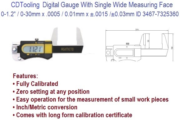 0-1.2/0-30mm Inch Metric Digital Gauge With Single Wide Measuring Face ID 3467-7325360