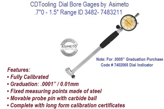 .7  to 1.5 Inch Dial Bore Gauges ID 3482-7483211
