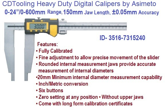 0-24 Inch 0-600mm Range Heavy Duty Digital Calipers with Long Certificate ID 3516-7315240