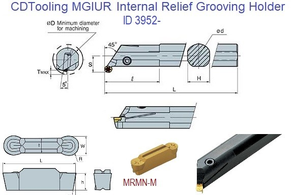 MGIUR Internal Relief Grooving Boring Bar Uses Insert MRMN-M ID 3952-
