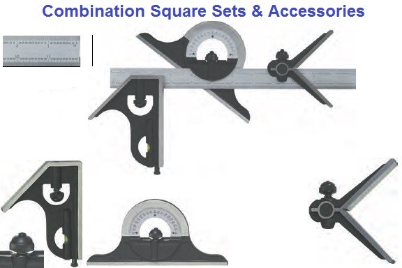 6, 12, 18, 24, Inch Combination Squares, Square Head, Center Head, Protractor and Blades ID1121-