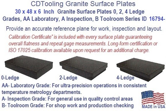 30 x 48 x 6 Granite Surface Plates 0, 2, 4 Ledge Grades, AA Laboratory, A Inspection, B Toolroom Series ID 16794-
