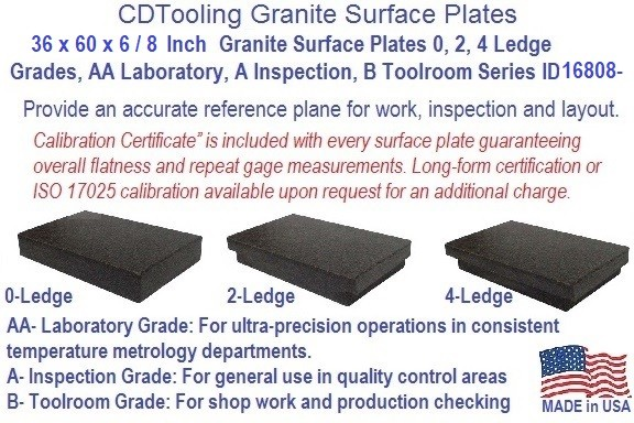 36 x 60 x 8,  36 x 60 x 6 Inch Granite Surface Plates 0, 2, 4 Ledge Grades, AA Laboratory, A Inspection, B Toolroom Series ID 16808-