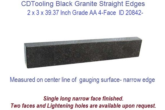 2 x 3 x 39.37 Inch Grade AA 4-Face Straight Edge, Straight Edge Black Granite ID 20842-
