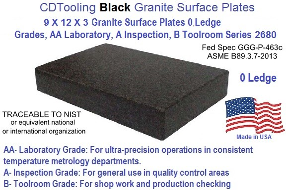 "TTC 9/"" x 12/"" x 2/"" Thick Grade B No Ledge Black Granite Surface Plate"