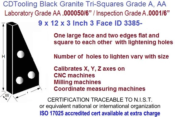 9 X 12 X 3 AA Laboratory, A Inspection Grade Tri-Square Granite Square 3 Side ID 3385-