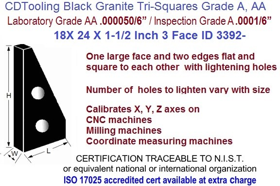 18 x 24 x 1-1/2 AA Laboratory, A Inspection Grade Tri-Square Granite Square 3 Side ID 3392-