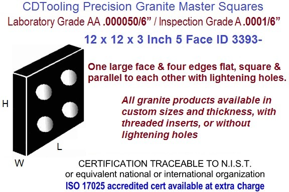 12 x 12 x 3 AA Laboratory, A Inspection Grade Master Granite Square  5 Side ID 3393-