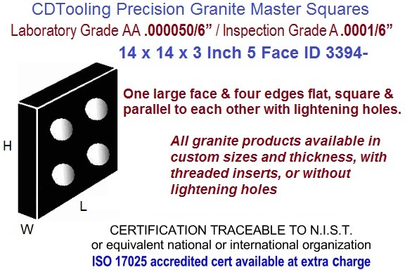14 x 14 x 3 AA Laboratory, A Inspection Grade Master Granite Square  5 Side ID 3394-