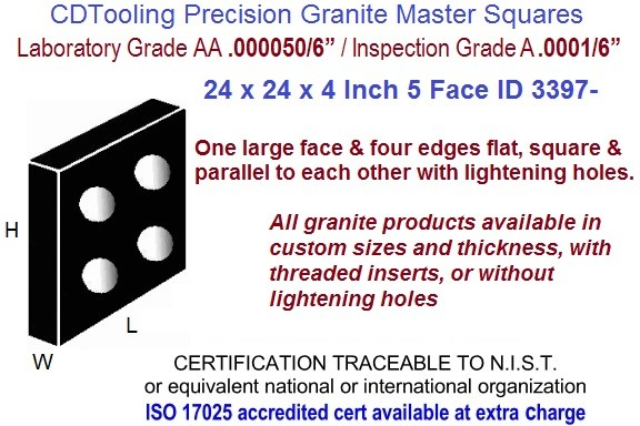 24 x 24 x 4 AA Laboratory, A Inspection Grade Master Granite Square  5 Side ID 3397-