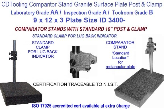 9 x 12 x 3 AA Laboratory, A Inspection, B Toolroom, Grade Granite Comparator Stand ID 3400-