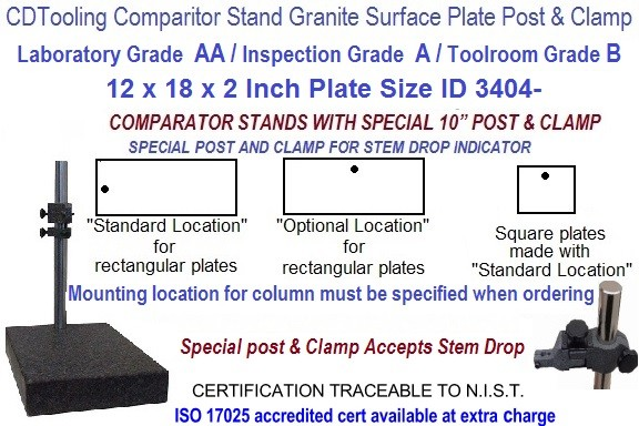 12 x 18 x 2 AA Laboratory, A Inspection, B Toolroom, Special Post Grade Granite Comparator Stand ID 3404-