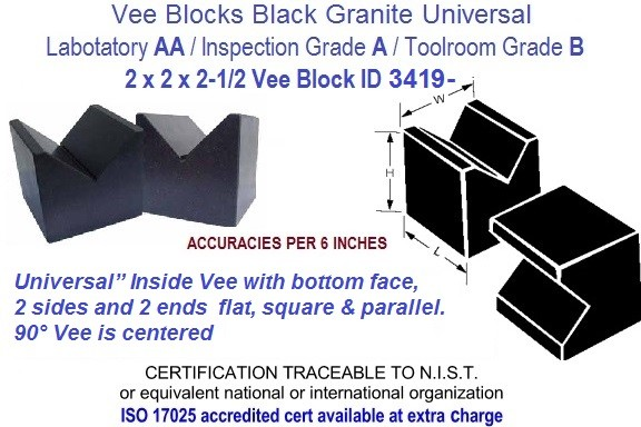 2 x 2 x 2-1/2 AA Laboratory, A Inspection, B Toolroom, Universal Vee Blocks Black Granite ID 3419-