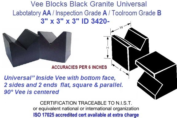 3 x 3 x 3 AA Laboratory, A Inspection, B Toolroom, Universal Vee Blocks Black Granite ID 3420-