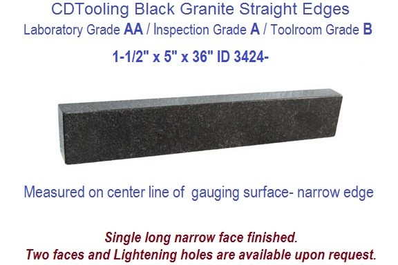 1-1/2 x 5 x 36  AA Laboratory, A Inspection, B Toolroom, Straight Edge Black Granite ID 3424-