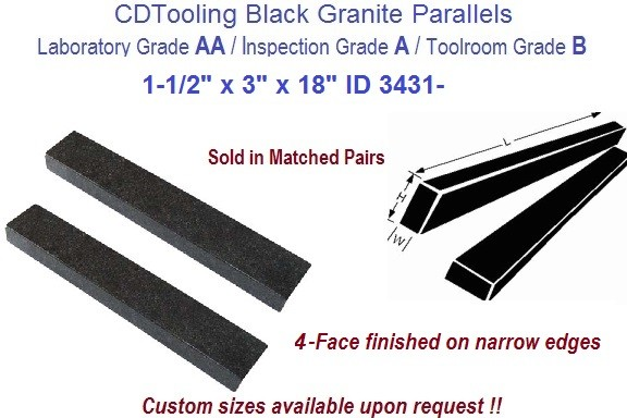 1-1/2 x 3 x 18 AA Laboratory, A Inspection, B Toolroom, 4 Face Parallels Black Granite ID 3431-