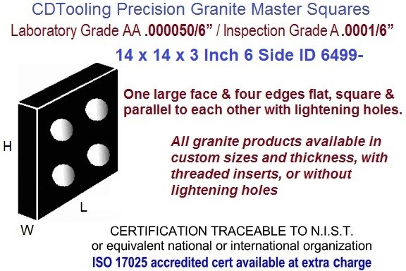 14 x 14 x 3 AA Laboratory, A Inspection Grade Master Granite Square 6 Side ID 6499-