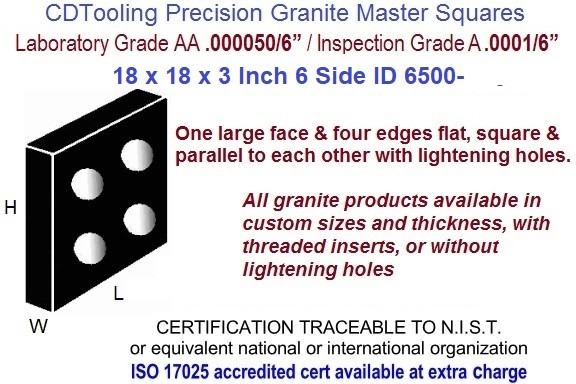 18 x 18 x 3 AA Laboratory, A Inspection Grade Master Granite Square 6 Side ID 6500-