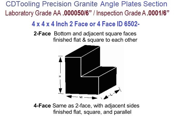4 x 4 x 4 Inch AA Laboratory, A Inspection Grade, Angle Plate 2-Face or 4 Face ID 6502-