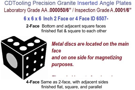 6 x 6 x 6 Inch AA Laboratory, A Inspection Grade, Inserted Angle Plate 2-Face or 4 Face ID 6507-