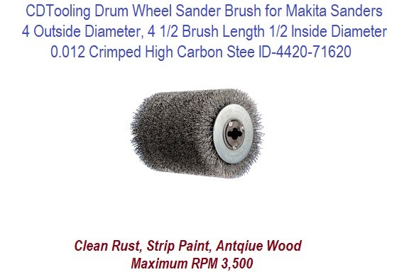 Wire Drum Wheel Sander Brush 4 x 4 x 4-1/2 Inch for Makita Sander ID 4420-71620