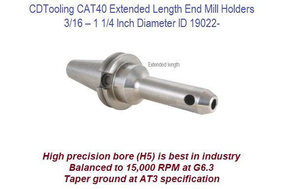 Techniks CAT40 1.0 x 6 Extended End Mill Holder