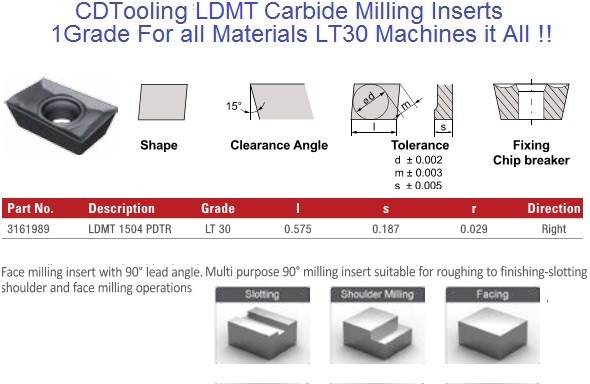LDMT1504 PDTR LT30 Carbide Inserts Multi-Material 1 Grade for all Materials, fits Ceratizit cutter 10 Pack ID 2105-