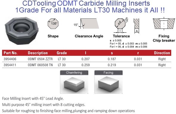 ODMT 0504 ZZTR, 060508 TN LT30 Carbide Inserts Multi-Material 1 Grade for all Materials, fits Seco, Walters cutter 10 Pack ID 2106-