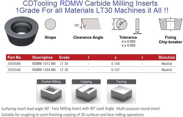 RDMW, 10T3, 1204 MO LT30 Carbide Inserts Multi-Material 1 Grade 10 Pack ID 2113-