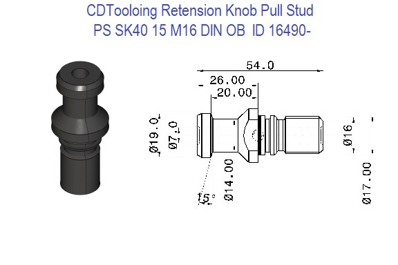 PS SK40 15 M16 DIN OB Retension Knob Pull Stud ID 16490-