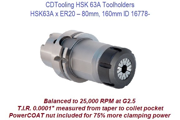 HSK63A x ER20 - 80mm, 160mm Toolholders ID 16778-