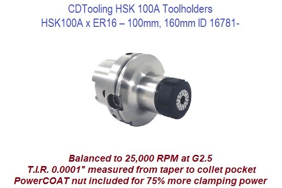 HSK100A x ER16 - 100mm, 160mm Toolholders ID 16781-